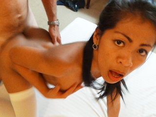 Asian whore April fucked till facial